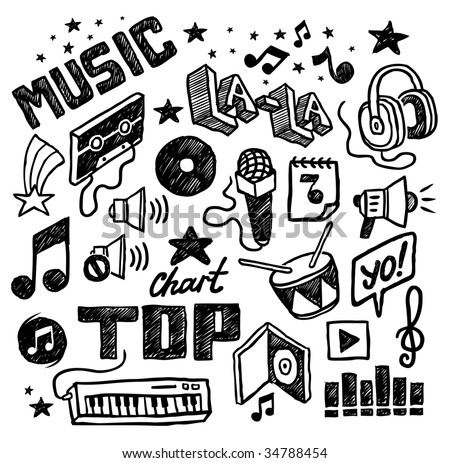 Hand-drawn musical icons. Vector illustration. - stock vector