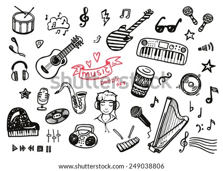 Hand drawn musical instruments collection. Music set. - stock vector