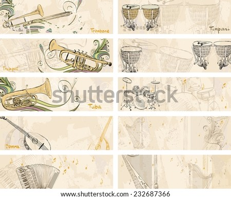 hand drawn musical instruments on a light background - stock vector