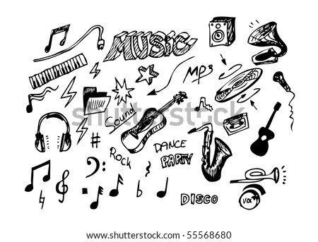 hand drawn musical object - stock vector