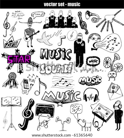 Hand-drawn musical set - stock vector