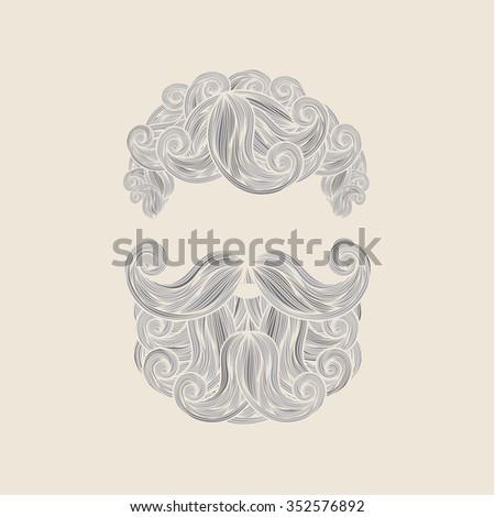 Hand Drawn Mustache Beard and Hair Style. - stock vector