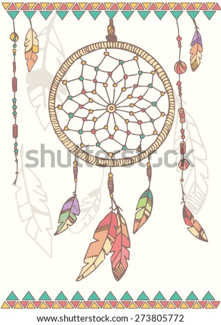 Hand drawn native american dream catcher, beads and feathers, vector illustration - stock vector