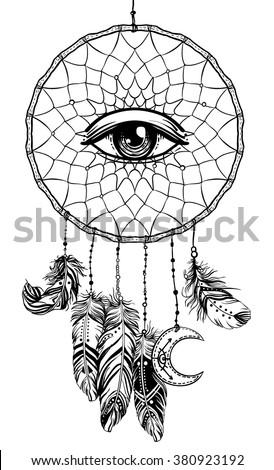 Dreamcatcher Black White Owl Vector Line Stock Vector