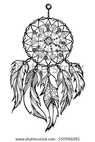 Hand Drawn Native American Indian Talisman Dreamcatcher With Feathers Vector Hipster Illustration Isolated On White