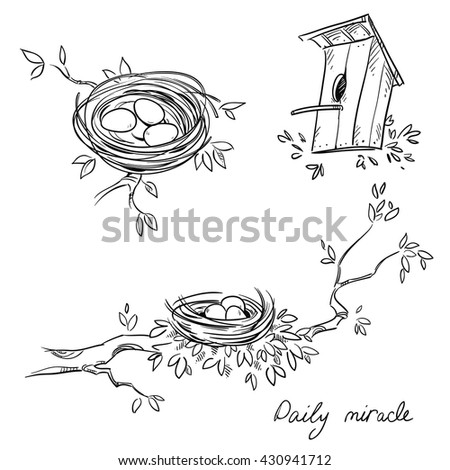 Hand drawn nests and a birdhouse, line drawing - stock vector
