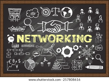 Hand drawn 'NETWORKING' on chalkboard. Business plan. - stock vector