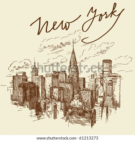 hand drawn new york - stock vector