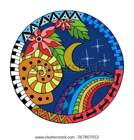 Hand drawn  night circle mandala for anti stress coloring page. Pattern for coloring book. Made by trace from sketch. Illustration in zentangle style. Colorful variant.