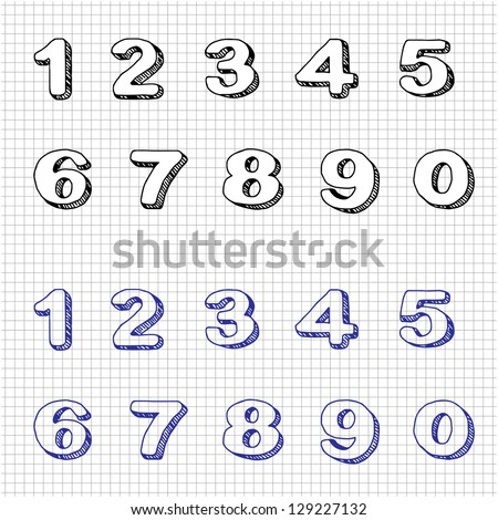 Hand-drawn Numbers. Doodles. Set 2. Vector Sketch - stock vector