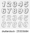 Hand-drawn numbers set. Vector illustration. - stock vector