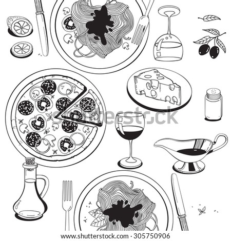 Hand drawn objects on italian food theme: pizza, pasta, tomato, olive oil, olives, cheese, lemon, sauce. Ethnic cuisine concept. Italian cuisine hand drawn objects.Vector food illustration for kitchen - stock vector