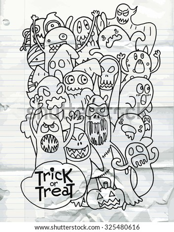 Hand Drawn of Halloween monster set,Texture of crumpled paper. Vector illustration.
