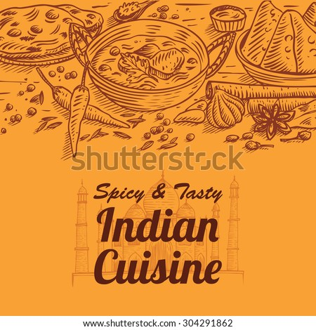 Hand drawn of Indian food and spices, vector - stock vector