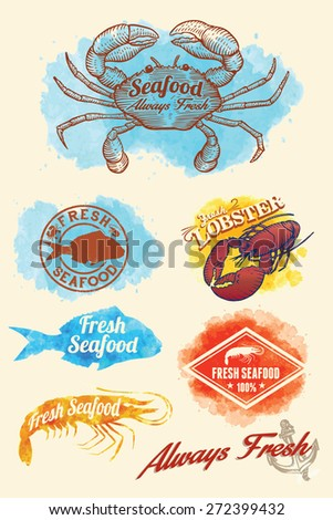 Hand drawn of seafood on watercolor background, EPS 8 vector