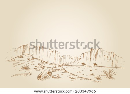 Hand drawn of two cowboys racing in desert, EPS 10 - stock vector