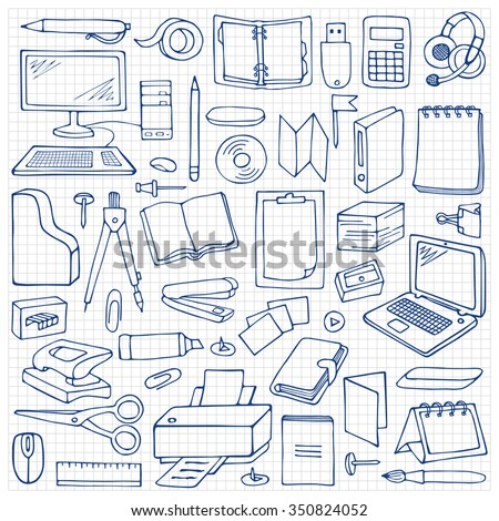 Hand drawn Office set on squared paper. Vector illustration with doodle office elements - stock vector