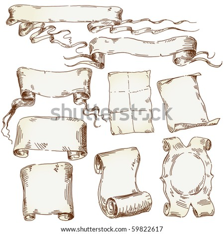hand drawn old scroll - stock vector
