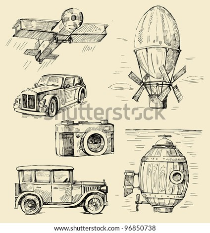 hand drawn - old times - stock vector