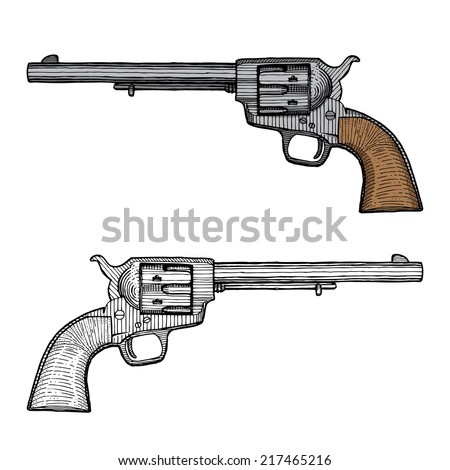 Western Six Shooters Drawing Hand Drawn Old West Hand Gun