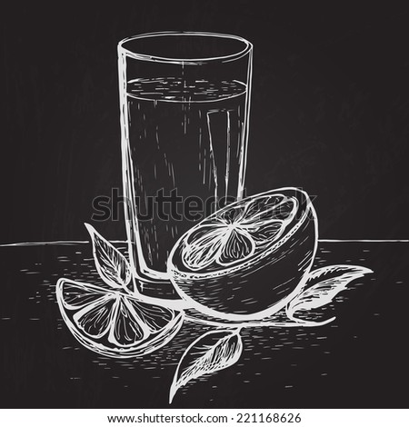 Hand drawn on the chalkboard juice with slices of orange and leaves - stock vector
