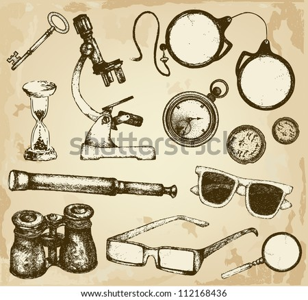 Hand drawn optics and glass things - stock vector