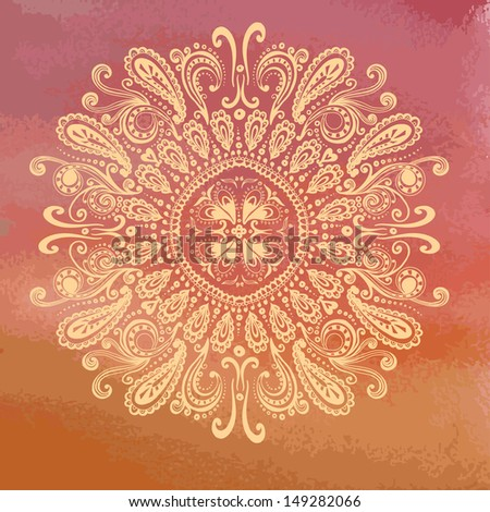 Hand drawn oriental pattern on grunge watercolor backdrop. Vintage indian background - stock vector