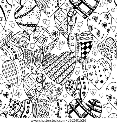 Hand drawn ornamental heart with love in doodle, zentangle tribal style, seamless pattern for adult coloring pages, card for St. Valentine's day. Vector decoration elements for postcard design. - stock vector