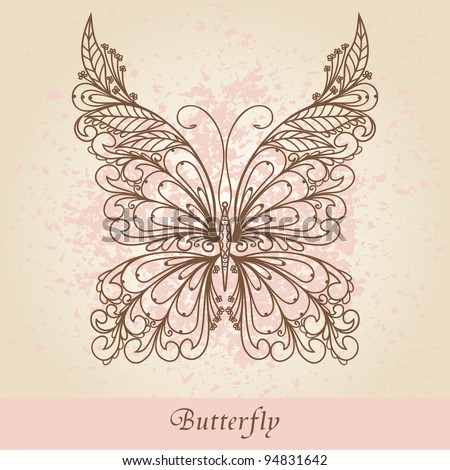 Hand-Drawn Ornate Butterfly  Doodle Vector Illustration - stock vector