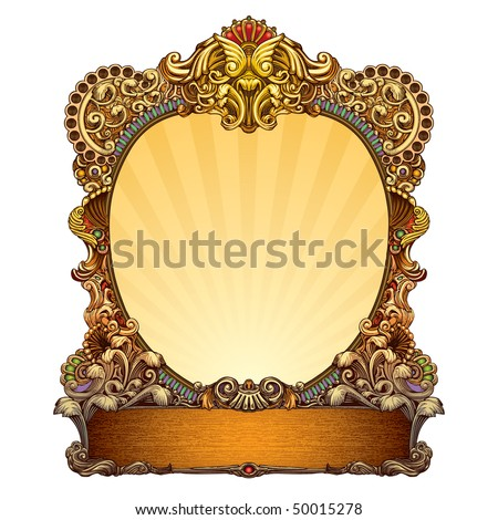hand drawn ornate frame with blank space
