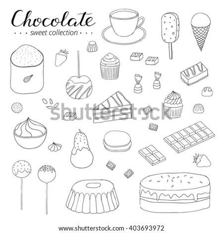 Hand drawn outline chocolate products isolated on white background. Cocoa, cake, cupcake, bundt, ice cream, candies, strawberry, pear, apple.