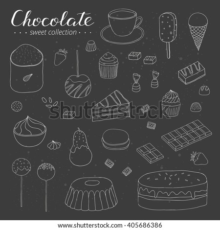 Hand drawn outline chocolate products on the blackboard. Cocoa, cake, cupcake, bundt, ice cream, candies, strawberry, pear, apple.