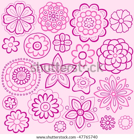 Hand-Drawn Outline Flowers Doodles on Pink Background- Vector Illustration - stock vector