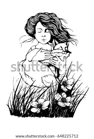Hand drawn outline vector illustration of cute little boy with fox in his hands. Grass and flowers. The little prince theme.