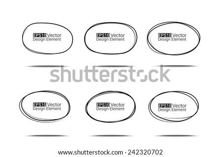 Hand drawn ovals set for your design, Eps10 vector - stock vector