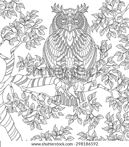 hand drawn owl coloring page - stock vector