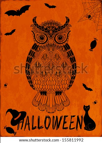 Hand-drawn owl on halloween background. Vector illustration - stock vector