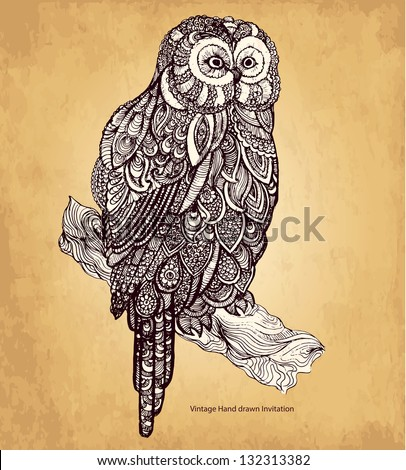 Hand drawn owl with elements of a flower ornament - stock vector