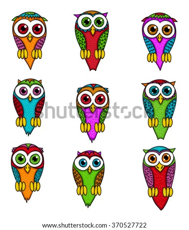 Hand drawn owls set. Collection of birds in cartoon style. Comic design elements, isolated on white background. - stock vector