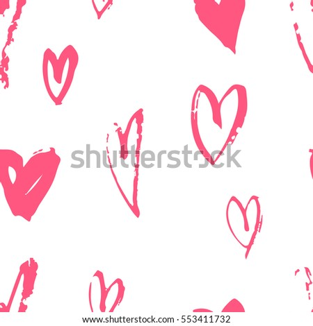 Hand drawn paint seamless pattern. Pink and white hearts background. Abstract brush drawing. Grunge Vector art illustration