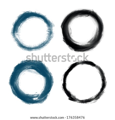 Hand drawn painted grunge circles illustration, vector design elements. Template for your design - stock vector