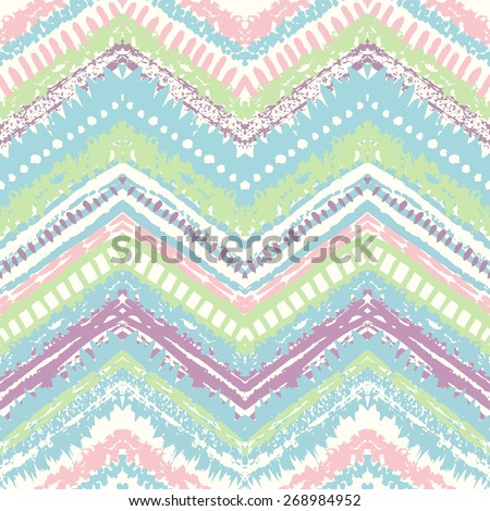 Hand drawn painted seamless pattern. Vector illustration for tribal design. Ethnic motif. Zigzag and stripe line. Retro pastel colors. For invitation, web, textile, wallpaper, wrapping paper. - stock vector