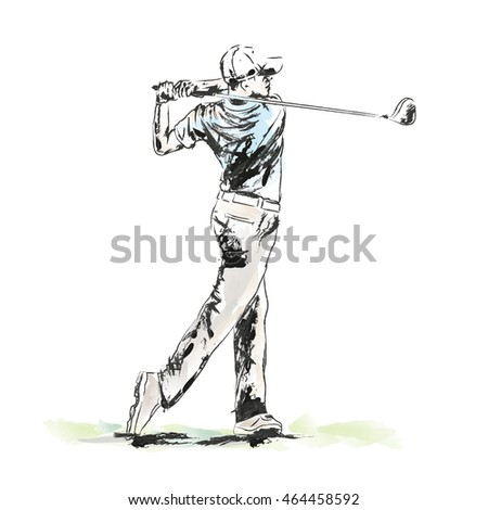 Hand drawn painting golfer.