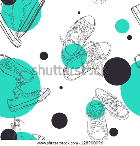 Hand drawn pairs of sneakers outlines seamless pattern. Vector illustration. - stock vector