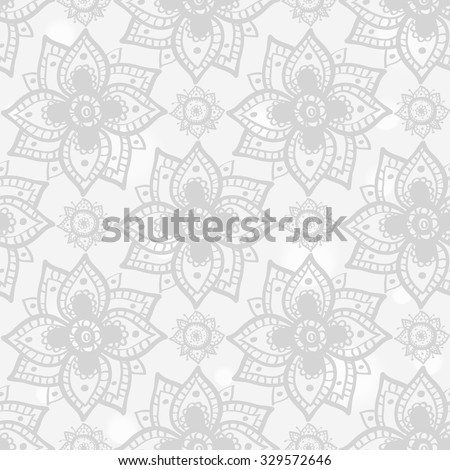 Hand drawn paisley and mehendi soft white seamless pattern. Light color line lace dahlia, peony decoration items. Winter floral wedding decorative elements.  - stock vector
