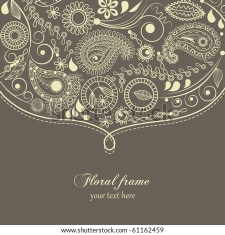 Hand drawn paisley border - stock vector