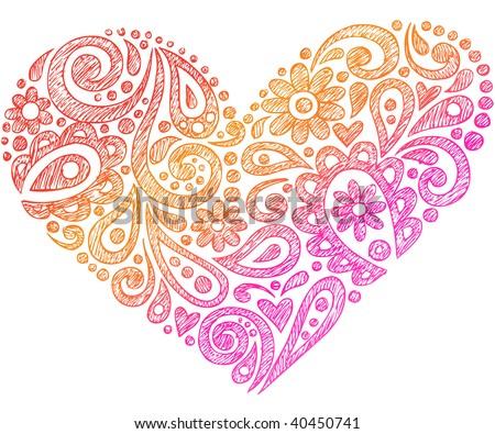 Hand-Drawn Paisley Henna Heart Shapes Sketchy Doodle Vector Illustration - stock vector