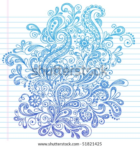 Hand-Drawn Paisley Henna Style Sketchy Notebook Doodles Vector Illustration on Lined Sketchbook Paper Background - stock vector