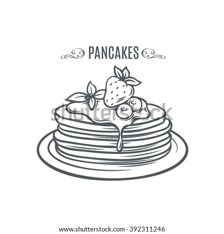 Hand drawn pancakes with strawberries and syrup. Decorative icon pancakes in an old style ink.  Vector illustration of Pancakes on a plate. - stock vector