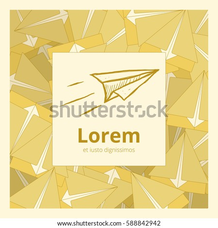 Hand Drawn Paper Plane Logo Template Stock Vector